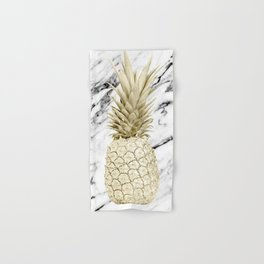Gold Pineapple on Marble Hand & Bath Towel