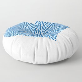 Turing Pattern Sunburst Love Heart (Blue) Floor Pillow