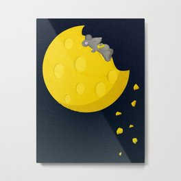 """If I could take a mouse to the moon…"" Metal Print"