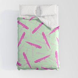 Modern neon pink green girly cute funny alligator pattern Comforters