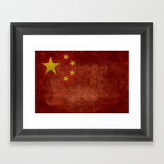 The National flag of the People's Republic of China in Vintage retro distressed texture form Framed Art Print