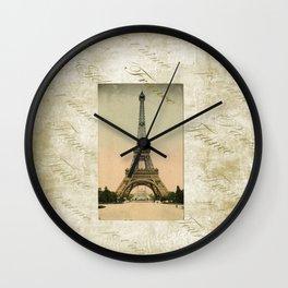 Vintage Style Eiffel Tower Art Wall Clock