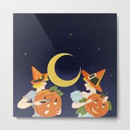Vintage Halloween Costume Party Pumpkin Carving Metal Print
