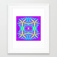 psychedelic art Framed Art Prints featuring psychedelic Floral Fuchsia Aqua by 2sweet4words Designs