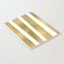 Gold unequal stripes on clear white - vertical pattern Notebook