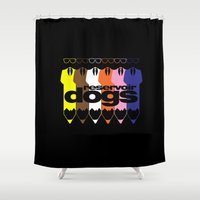 reservoir dogs Shower Curtains featuring Colorful Dogs by Nightwatcher