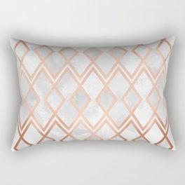 Copper & White Geo Diamonds Rectangular Pillow
