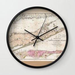 1842 Map of Long Island Wall Clock