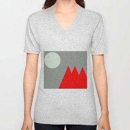 Red Mountains and Moon Unisex V-Neck