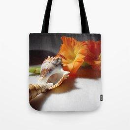 Gladiolas and sea shells Tote Bag