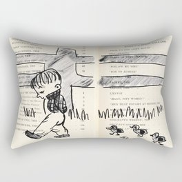 Boy and the ducks Drawing  Rectangular Pillow