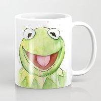 kermit Mugs featuring Kermit Portrait by Olechka