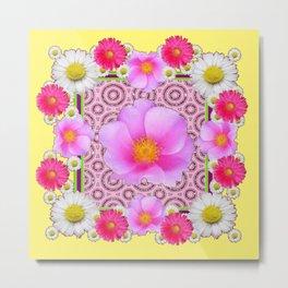 Floral Abundance yellow color fuchsia Shasta Daisy Pink Roses Abstract Ar Metal Print