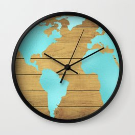 Earth Map Turquoise on Wood Wall Clock