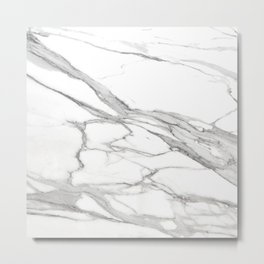 Grey Winter Marble Metal Print