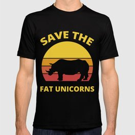 Save The Fat Unicorns Retro Vintage Rhino Gift T-shirt