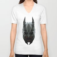 bat man V-neck T-shirts featuring Bat man by Fabio Piazzi