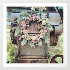 Tractor with Wreath Art Print
