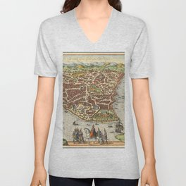 Vintage Map Print - 1660 bird's eye view map of Constantinople Unisex V-Neck
