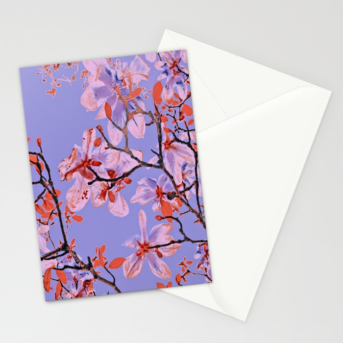 Copper Flowers on violett ground Stationery Cards