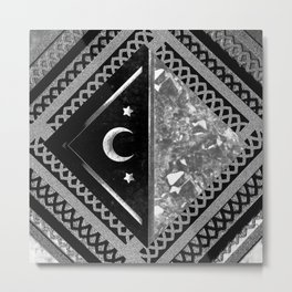 Moon and Lace Collage in Black and White Metal Print