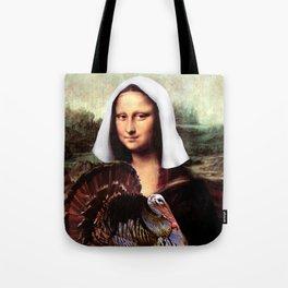 Mona Lisa Thanksgiving Pilgrim Tote Bag