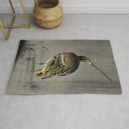 Snipe Fishing - Japanese vintage woodblock print Rug