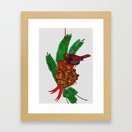 Little Bird In Evergreen Boughs Framed Art Print