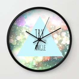 Try It From Another Angle | Triangle Galaxy Typography Quote Wall Clock