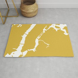 Manhattan New York Minimalist Abstract in Light Mustard and White  Rug