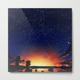 Calvin And Hobbes With Starry Night Metal Print