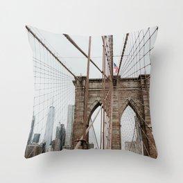 Brooklyn Bridge   Colourful Travel Photography   New York City, America (USA) Throw Pillow