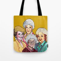 golden girls Tote Bags featuring Golden Girls by Minerva Torres-Guzman