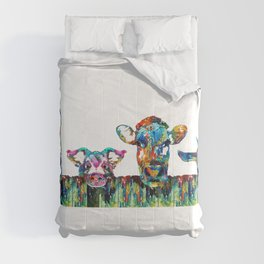 Over The Fence - Colorful Farm Animals - Sharon Cummings Comforters