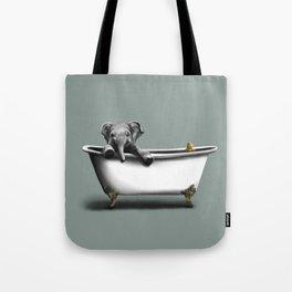 Elephant in Bath Tote Bag