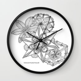 Vermont Zentangle Snow Flakes Illustration Wall Clock
