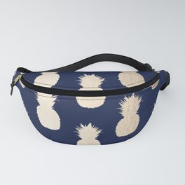 Gold Pineapple Pattern Navy Blue Fanny Pack