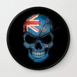 Dark Skull with Flag of New Zealand Wall Clock