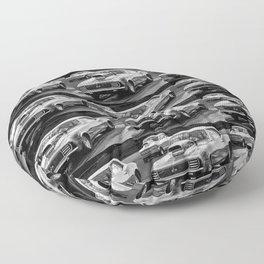 Black and White Drag Car Floor Pillow