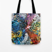 xmen Tote Bags featuring The XMen by MelissaMoffatCollage