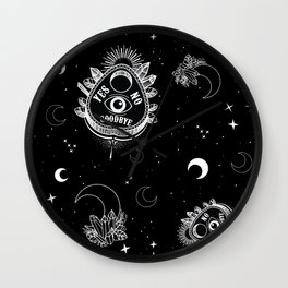 Ouija Planchette and Moon Crystals Wall Clock