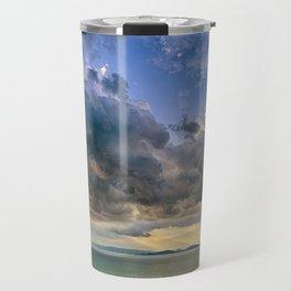 Heavenly lights through storm clouds over Lake Balaton Travel Mug