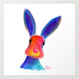 Happy Hare ' BuGsY ' by Shirley MacArthur Art Print