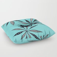 Elegant Thin Flowers With Dots And Swirls Floor Pillow