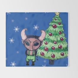Krampus the Christmas Devil Throw Blanket