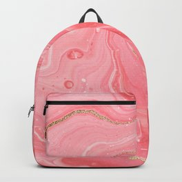 Elegant pink coral gold glitter watercolor marble  Backpack