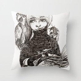 Boy & Parrots Throw Pillow