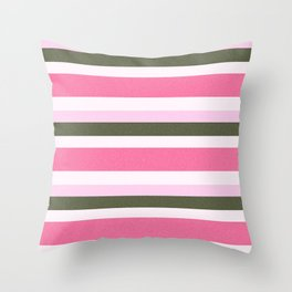Pink Roses in Anzures 4 Stripes 4H Throw Pillow