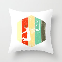 A Basketball Tee For Players With A Vintage Retro Silhouette Of A Man Showing His Skills T-shirt Throw Pillow