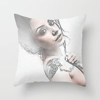 hippie Throw Pillows featuring Hippie Queen by Robin Curtiss